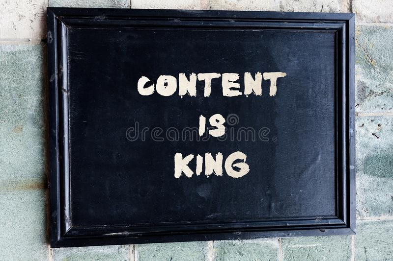 Writing note showing Content Is King. Business photo showcasing believe that content is central to the success of a. Writing note showing Content Is King royalty free stock photos