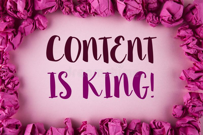 Writing note showing Content Is King Motivational Call. Business photo showcasing Strategy online internet digital seo written on. Writing note showing Content royalty free stock images