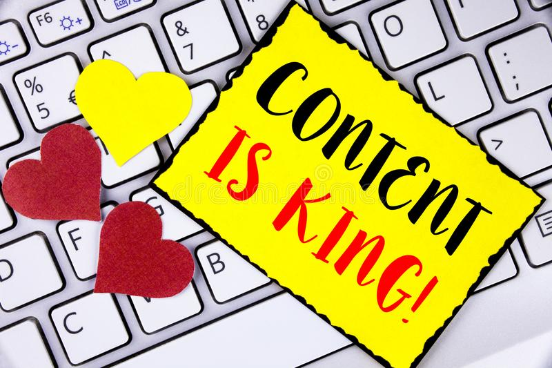 Writing note showing Content Is King Motivational Call. Business photo showcasing Strategy online internet digital seo written on. Writing note showing Content royalty free stock photos