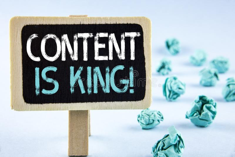 Writing note showing Content Is King Motivational Call. Business photo showcasing Strategy online internet digital seo written on. Writing note showing Content royalty free stock photography