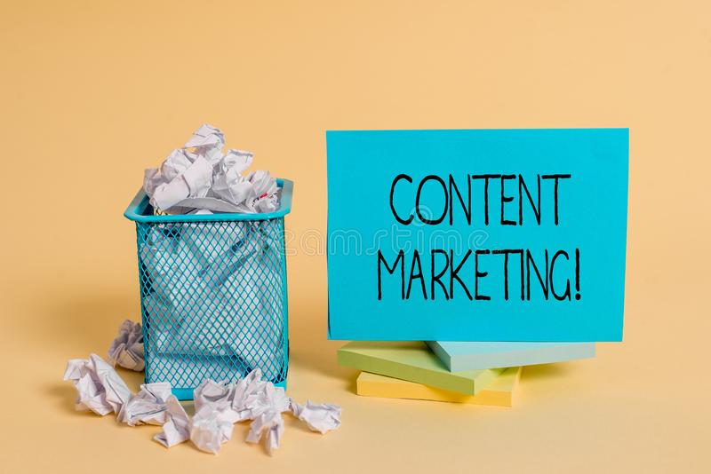 Writing note showing Content Marketing. Business photo showcasing Involves the creation and sharing of online material. Writing note showing Content Marketing royalty free stock image