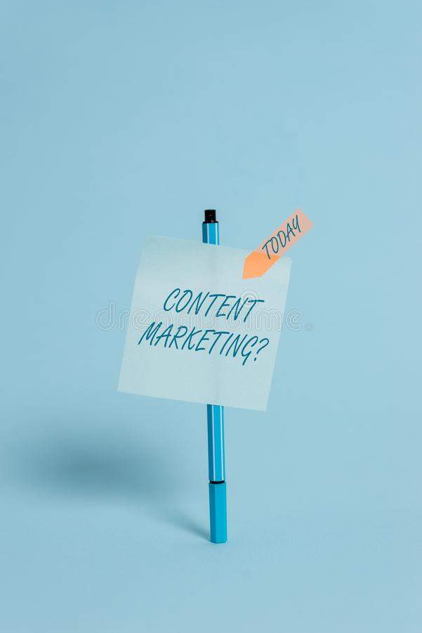 Writing note showing Content Marketing Question. Business photo showcasing involves creation and sharing of online royalty free stock images