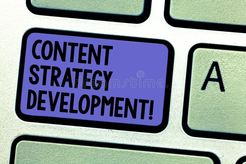Writing note showing Content Strategy Development. Business photo showcasing setting some goals for the marketing royalty free stock images