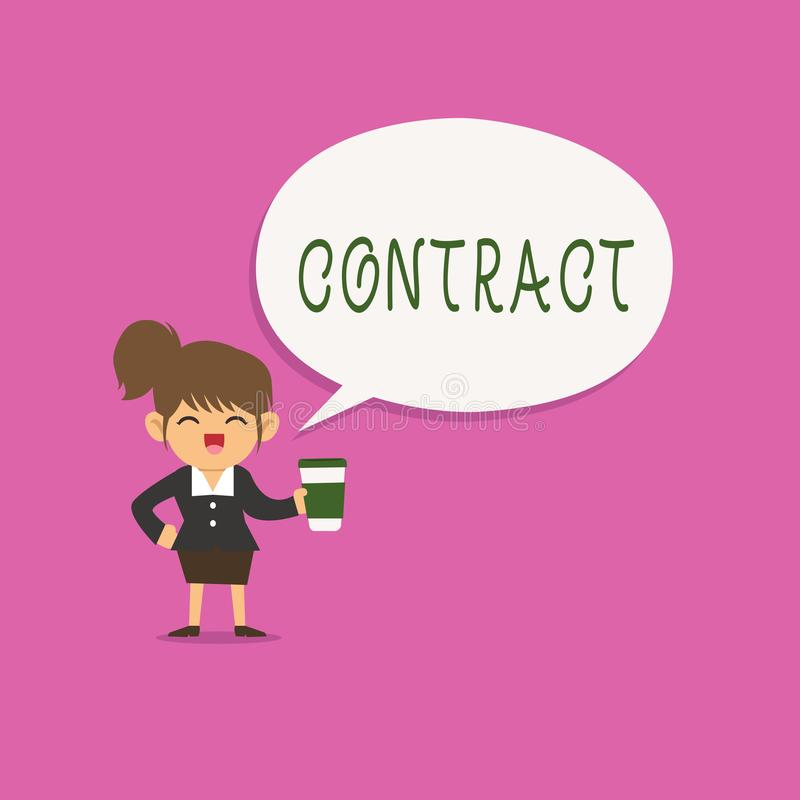 Writing note showing Contract. Business photo showcasing written or spoken agreement especially one concerning employment.  vector illustration