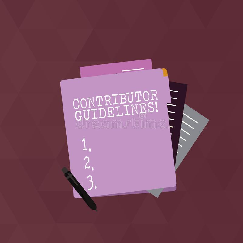 Writing note showing Contributor Guidelines. Business photo showcasing demonstrating who writes articles for magazine or. Writing note showing Contributor royalty free illustration