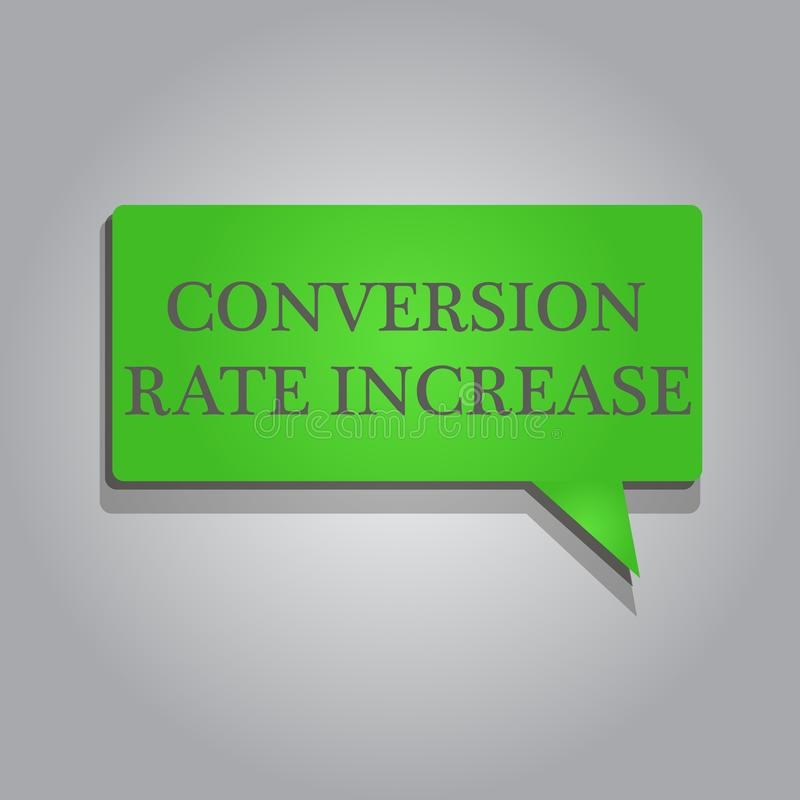 Writing note showing Conversion Rate Increase. Business photo showcasing Ratio of Total Visitors who perform desired actions.  stock illustration