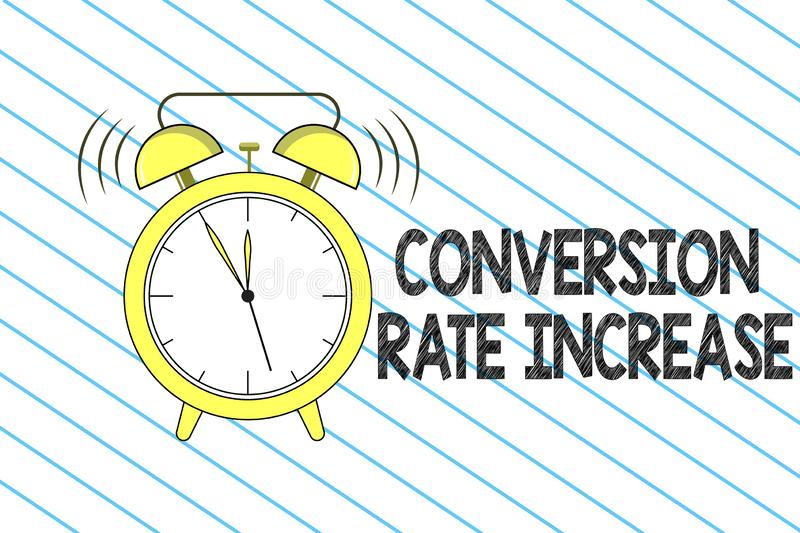 Writing note showing Conversion Rate Increase. Business photo showcasing Ratio of Total Visitors who perform desired. Actions stock illustration