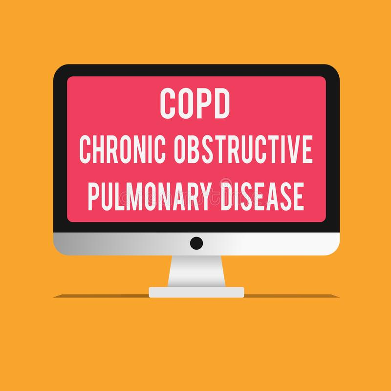 Writing note showing Copd Chronic Obstructive Pulmonary Disease. Business photo showcasing Lung disease Difficulty to. Breath royalty free illustration