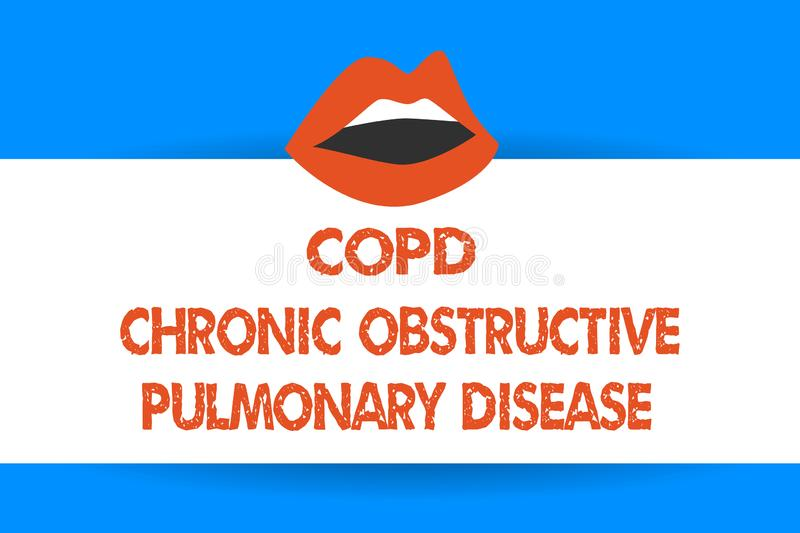 Writing note showing Copd Chronic Obstructive Pulmonary Disease. Business photo showcasing Lung disease Difficulty to. Breath stock illustration
