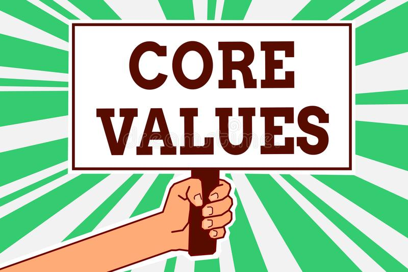 Writing note showing Core Values. Business photo showcasing belief person or organization views as being importance Man hand holdi. Ng poster important protest royalty free illustration