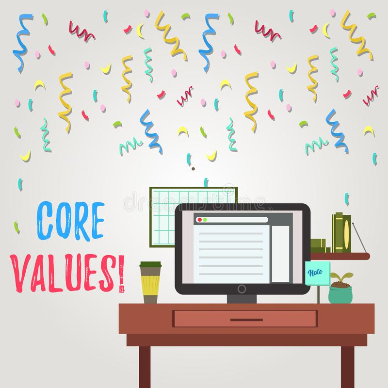Writing note showing Core Values. Business photo showcasing principle that demonstrating views as being central. Writing note showing Core Values. Business royalty free illustration