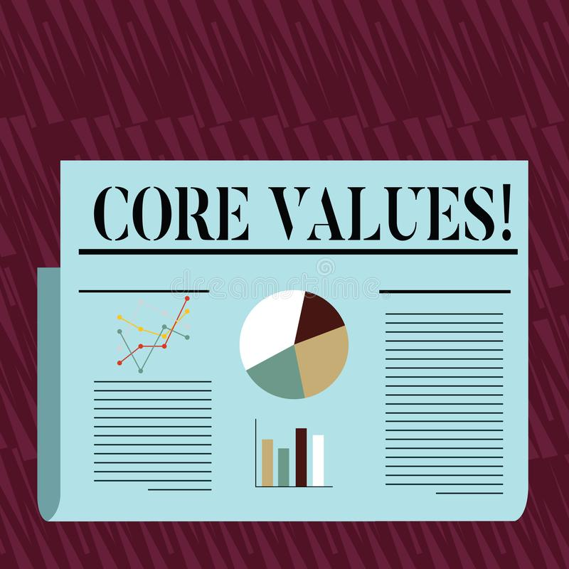 Writing note showing Core Values. Business photo showcasing principle that demonstrating views as being central. Writing note showing Core Values. Business stock illustration