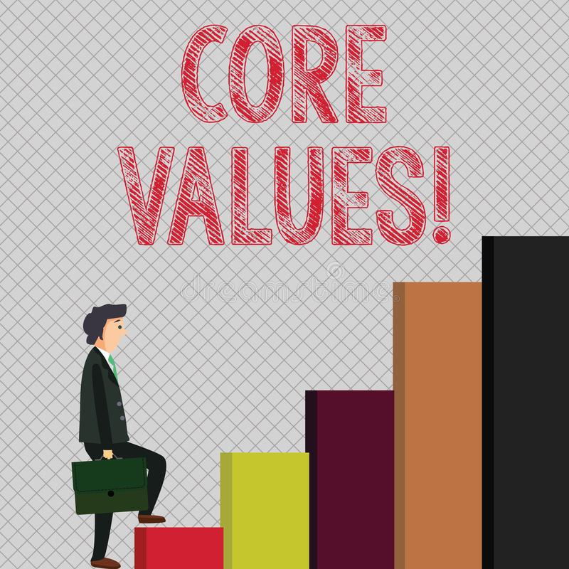 Writing note showing Core Values. Business photo showcasing principle that demonstrating views as being central. Writing note showing Core Values. Business vector illustration