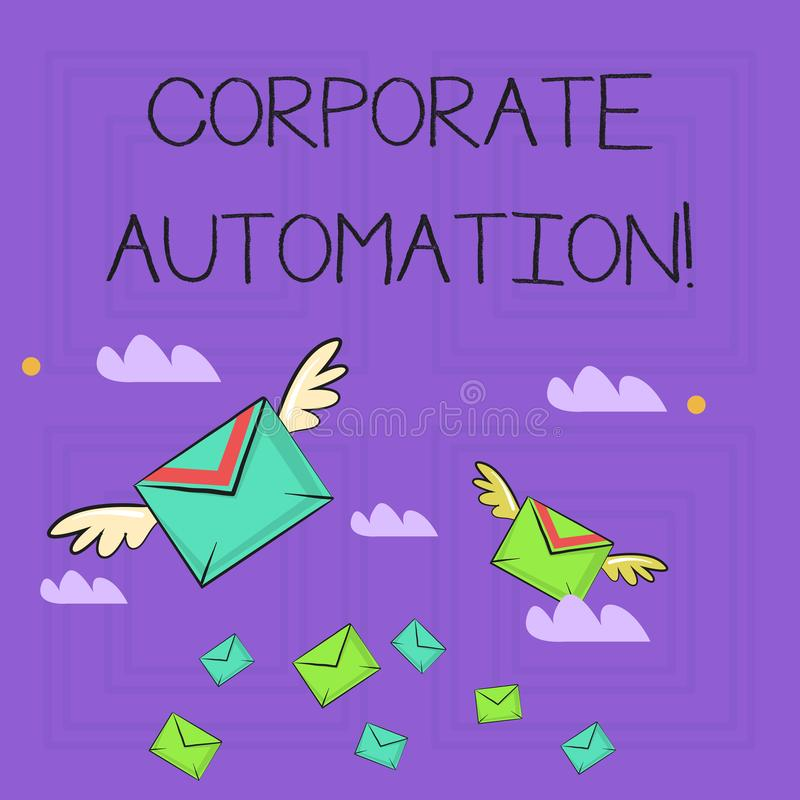 Writing note showing Corporate Automation. Business photo showcasing automating key processes through computing. Writing note showing Corporate Automation stock illustration