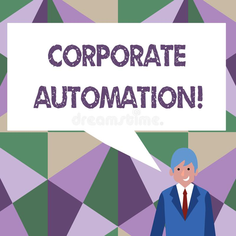 Writing note showing Corporate Automation. Business photo showcasing automating key processes through computing. Writing note showing Corporate Automation royalty free illustration