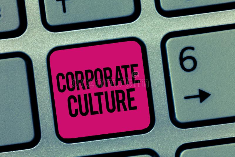 Writing note showing Corporate Culture. Business photo showcasing Beliefs and ideas that a company has Shared values.  royalty free stock image