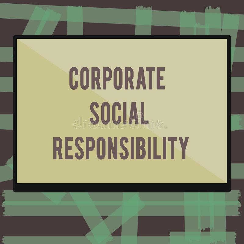 Writing note showing Corporate Social Responsibility. Business photo showcasing Internal corporate policy and Ethic. Strategy stock illustration