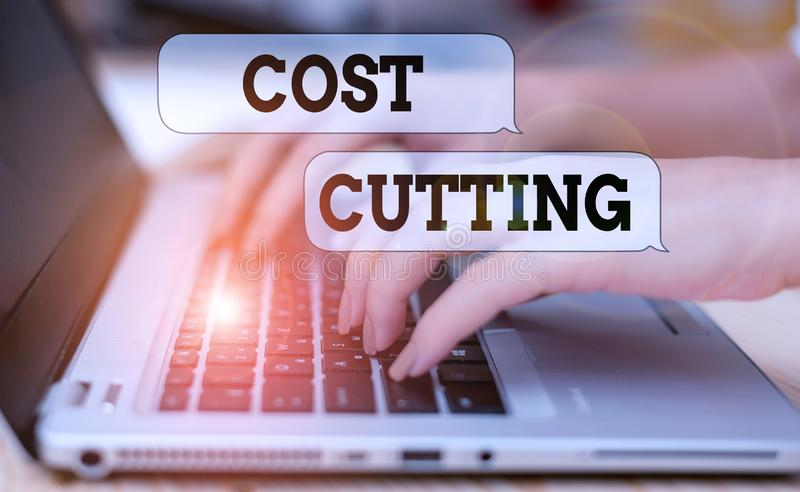 Writing note showing Cost Cutting. Business photo showcasing actions taken to reduce the amount that is spent on a. Writing note showing Cost Cutting. Business royalty free stock photos