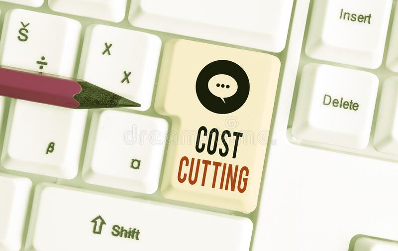 Writing note showing Cost Cutting. Business photo showcasing actions taken to reduce the amount that is spent on a. Writing note showing Cost Cutting. Business royalty free stock photography