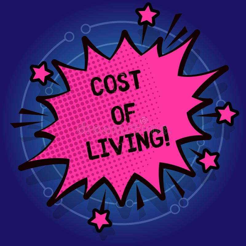 Writing note showing Cost Of Living. Business photo showcasing The level of prices relating to a range of everyday items stock illustration