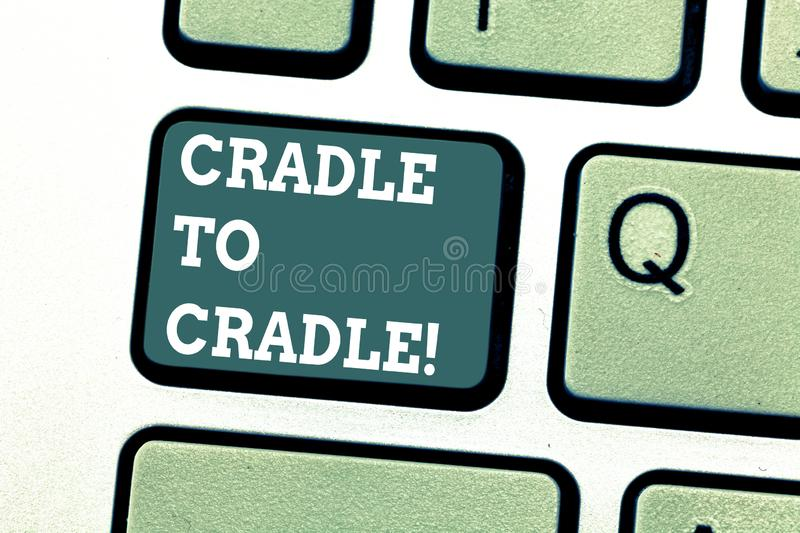 Writing note showing Cradle To Cradle. Business photo showcasing biomimetic approach to design of products and systems royalty free stock photography