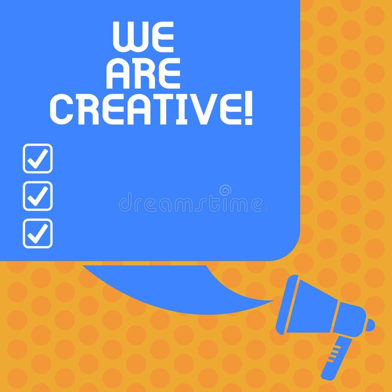 Writing note showing We Are Creative. Business photo showcasing To have a lot of creativity original ideas good for. Design Color Silhouette of Blank Square stock illustration