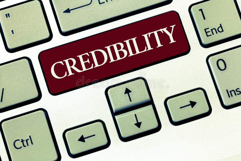 Writing note showing Credibility. Business photo showcasing Quality of being convincing trusted credible and believed in.  royalty free stock photography