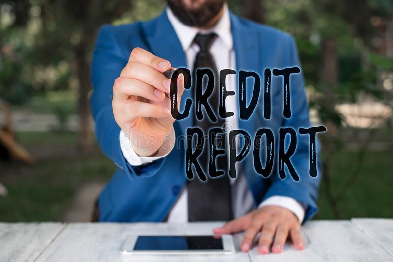 Writing note showing Credit Report. Business photo showcasing Borrowing Rap Sheet Bill and Dues Payment Score Debt stock photography