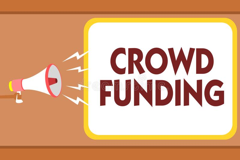 Writing note showing Crowd Funding. Business photo showcasing Fundraising Kickstarter Startup Pledge Platform Donations Man holdin. G megaphone loudspeaker royalty free illustration