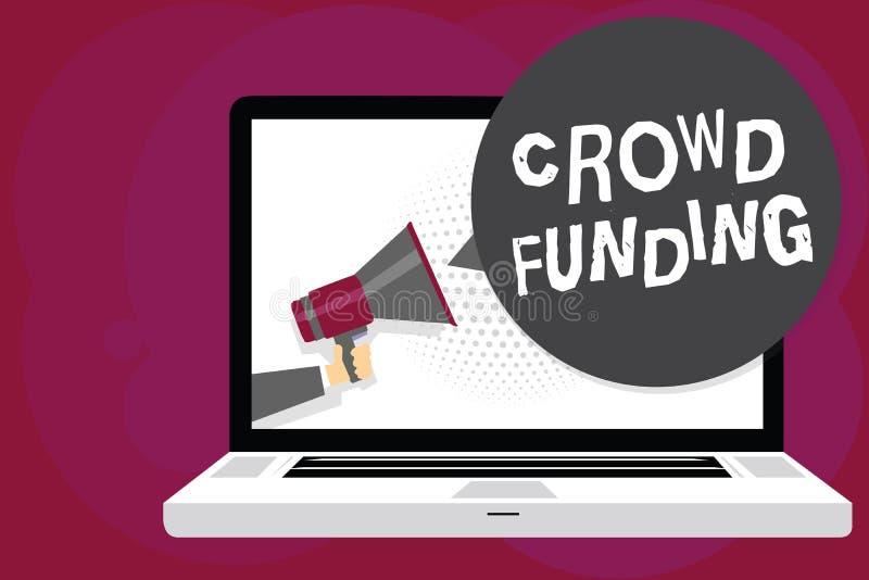 Writing note showing Crowd Funding. Business photo showcasing Fundraising Kickstarter Startup Pledge Platform Donations. Man holding Megaphone computer screen royalty free illustration
