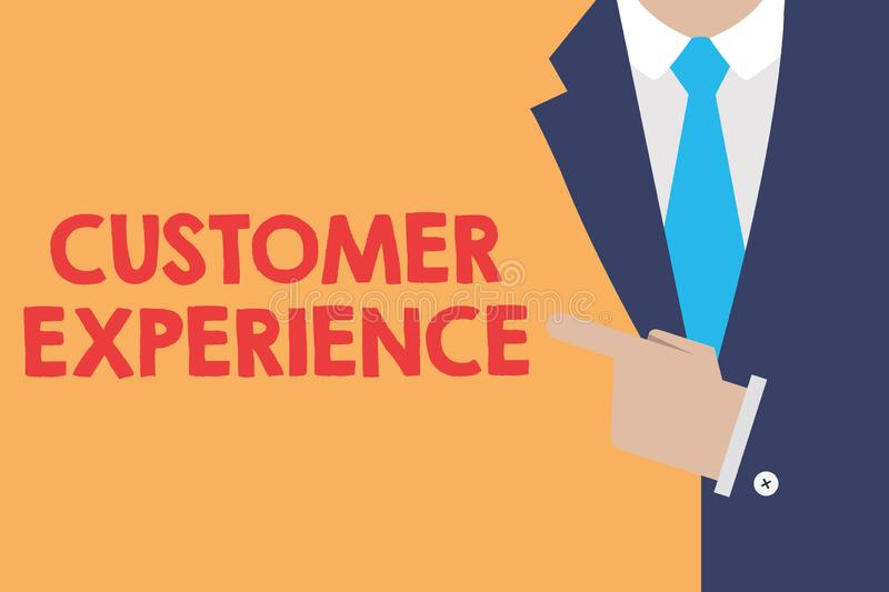 Writing note showing Customer Experience. Business photo showcasing Interaction between Satisfied Customer and. Organization stock illustration