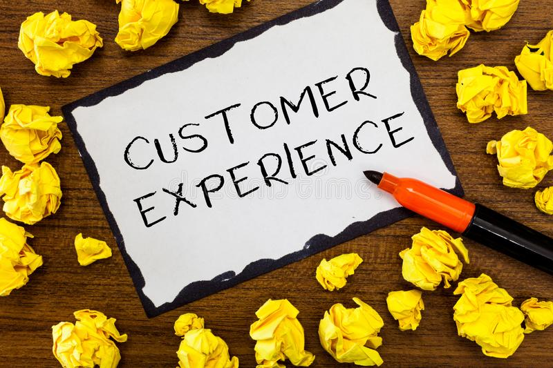 Writing note showing Customer Experience. Business photo showcasing Interaction between Satisfied Customer and. Organization royalty free stock photography