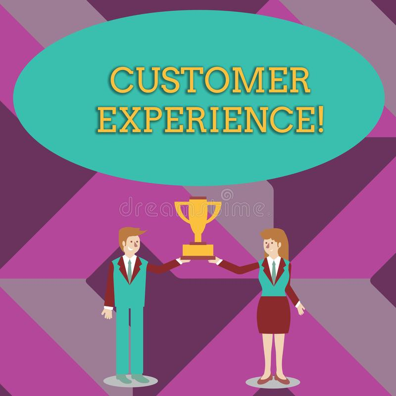Writing note showing Customer Experience. Business photo showcasing Interaction between Satisfied Customer and. Writing note showing Customer Experience vector illustration