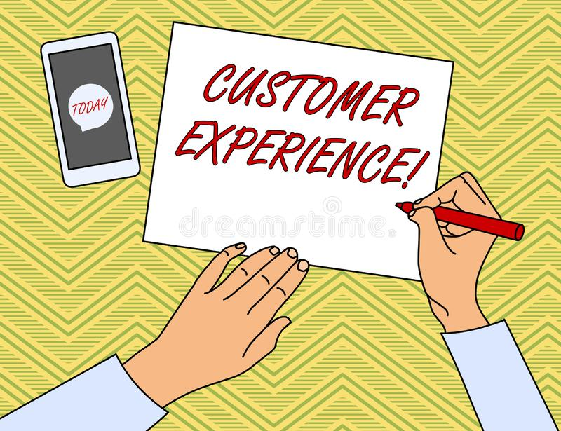 Writing note showing Customer Experience. Business photo showcasing Interaction between Satisfied Customer and. Writing note showing Customer Experience royalty free illustration