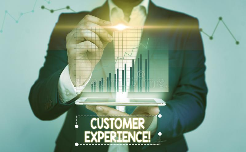 Writing note showing Customer Experience. Business photo showcasing product of interaction between organization and. Writing note showing Customer Experience royalty free stock image
