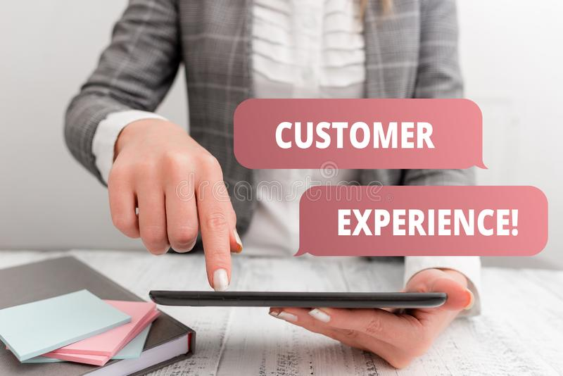 Writing note showing Customer Experience. Business photo showcasing product of interaction between organization and. Writing note showing Customer Experience royalty free stock photo