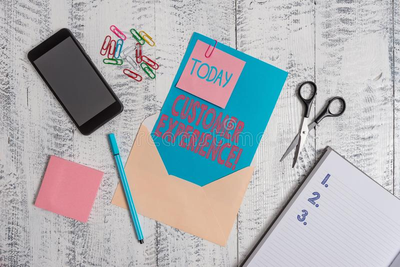 Writing note showing Customer Experience. Business photo showcasing product of interaction between organization and. Writing note showing Customer Experience royalty free stock images
