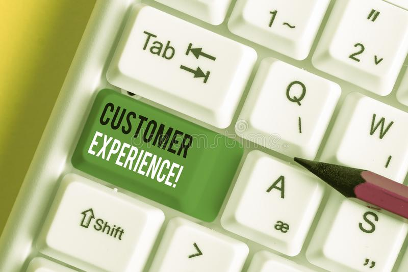 Writing note showing Customer Experience. Business photo showcasing product of interaction between organization and. Writing note showing Customer Experience stock photography