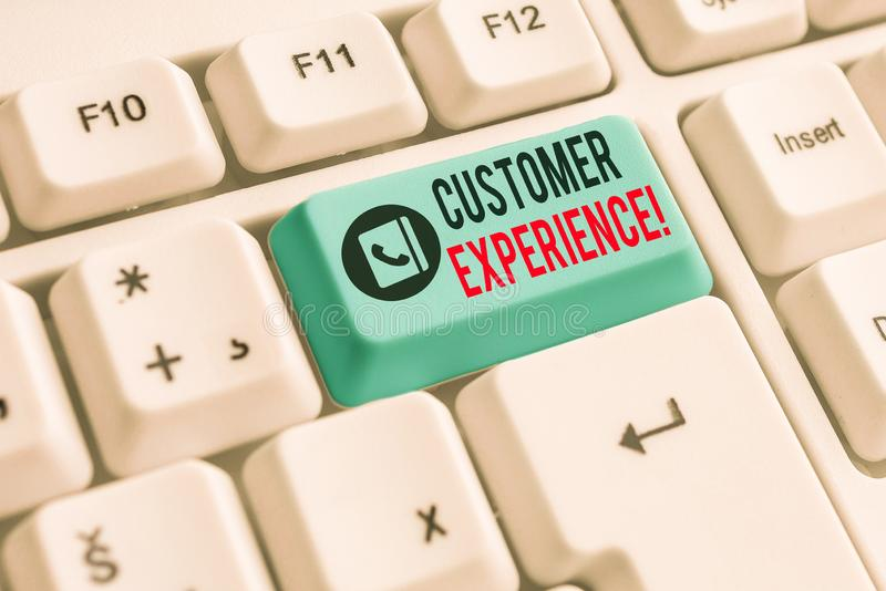 Writing note showing Customer Experience. Business photo showcasing product of interaction between organization and. Writing note showing Customer Experience royalty free stock photography