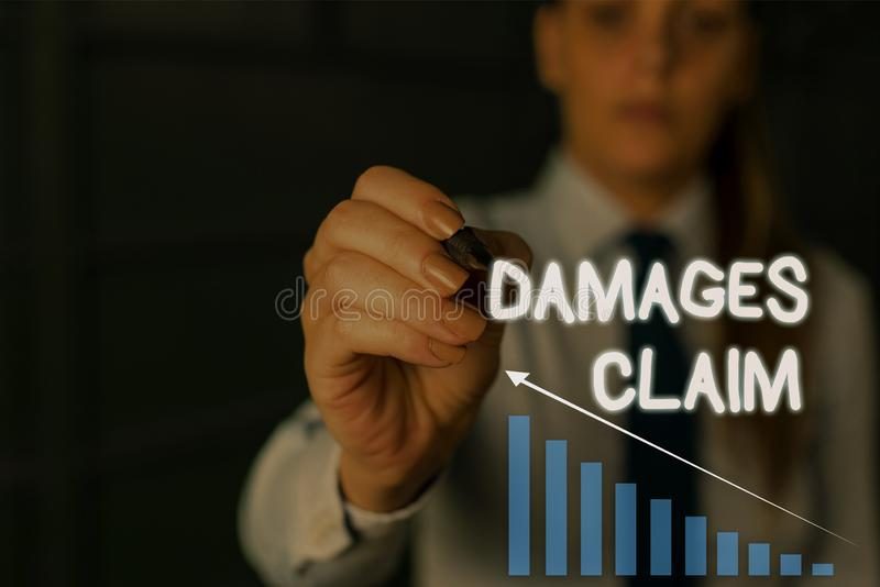 Writing note showing Damages Claim. Business photo showcasing Deanalysisd Compensation Litigate Insurance File Suit. Writing note showing Damages Claim. Business royalty free stock photos