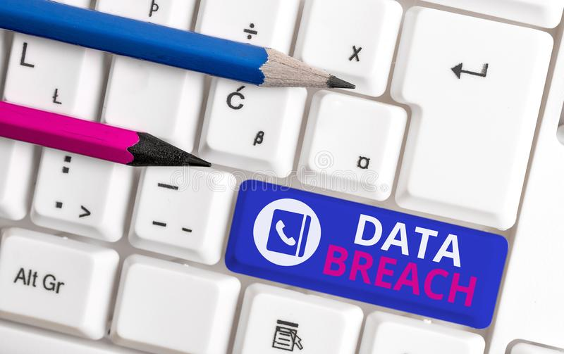 Writing note showing Data Breach. Business photo showcasing security incident where sensitive protected information. Writing note showing Data Breach. Business stock photography