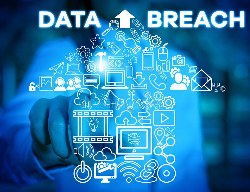 Writing note showing Data Breach. Business photo showcasing security incident where sensitive protected information. Writing note showing Data Breach. Business royalty free stock images
