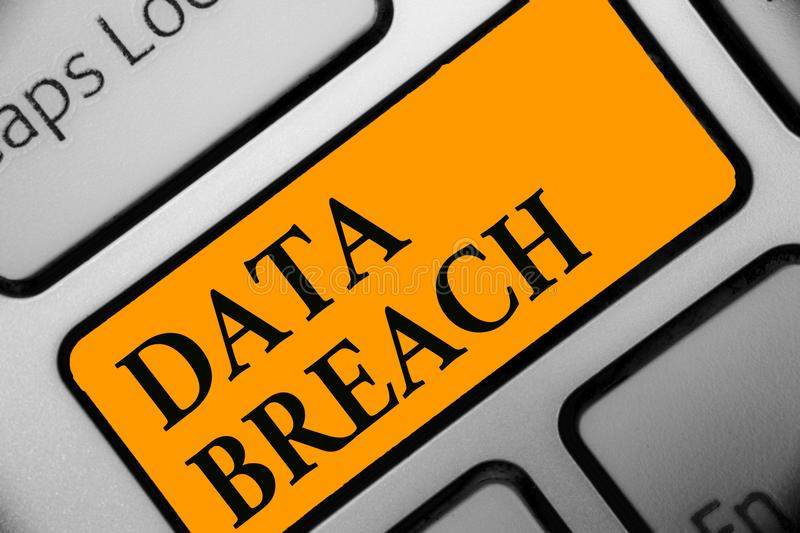 Writing note showing Data Breach. Business photo showcasing security incident where sensitive protected information copied Keyboar. D orange key Intention royalty free stock images