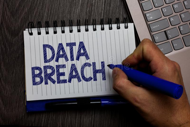 Writing note showing Data Breach. Business photo showcasing security incident where sensitive protected information copied Man hol. Ding marker spiral notebook royalty free stock images