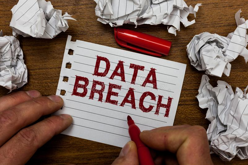 Writing note showing Data Breach. Business photo showcasing security incident where sensitive protected information copied Man hol. Ding marker notebook page royalty free stock images