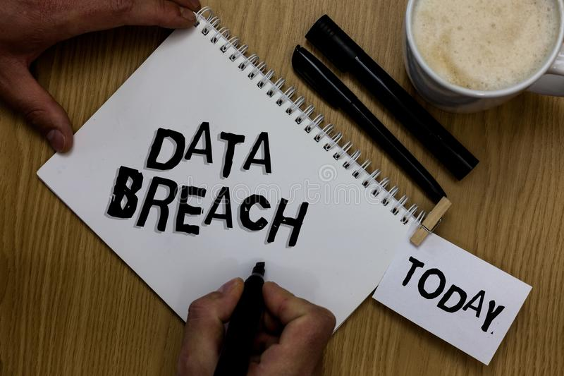 Writing note showing Data Breach. Business photo showcasing security incident where sensitive protected information copied Man hol. Ding marker notebook royalty free stock images