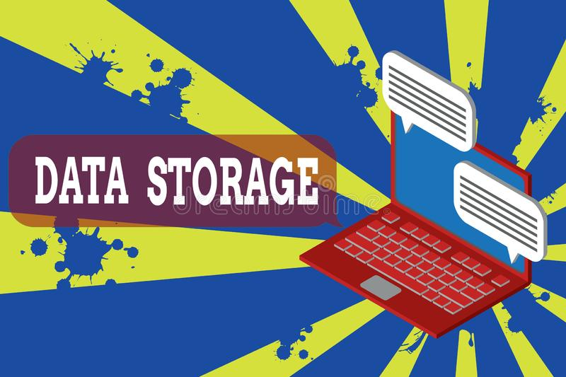Writing note showing Data Storage. Business photo showcasing the act of archiving data in electromagnetic or other forms vector illustration