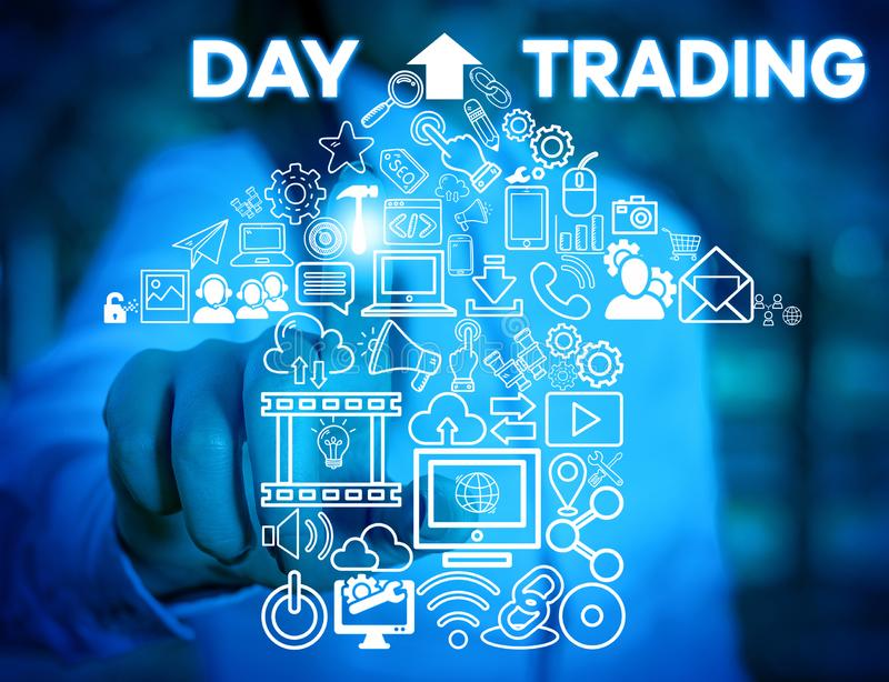 Writing note showing Day Trading. Business photo showcasing securities specifically buying and selling financial. Writing note showing Day Trading. Business royalty free stock image