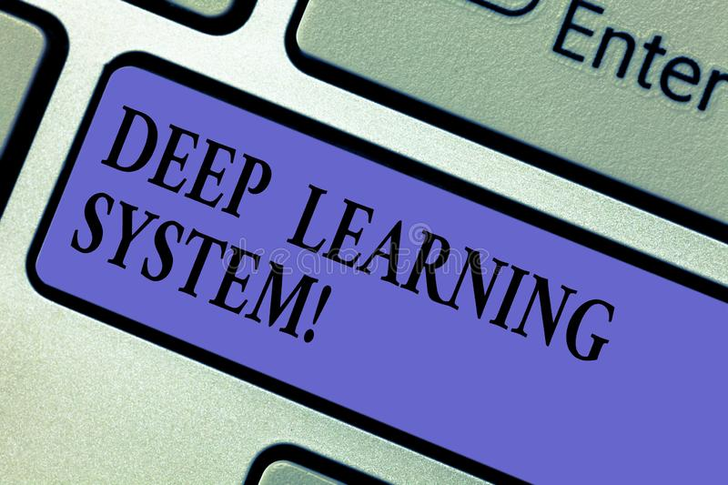 Writing note showing Deep Learning System. Business photo showcasing collection of algorithms used in machine learning. Keyboard key Intention to create royalty free stock image