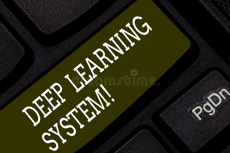 Writing note showing Deep Learning System. Business photo showcasing collection of algorithms used in machine learning. Keyboard key Intention to create royalty free stock images
